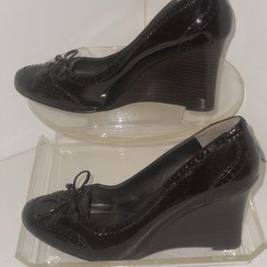 ENZO ANGIOLINI GENUINE LEATHER BROWN WEDGE HEELS